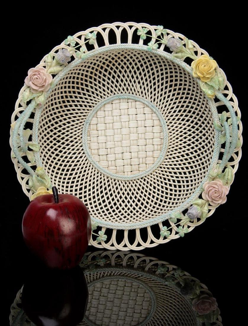 AN IRISH BELLEEK FOUR STRAND CIRCULAR BASKET - 2