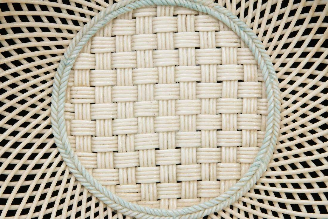 AN IRISH BELLEEK FOUR STRAND CIRCULAR BASKET - 3