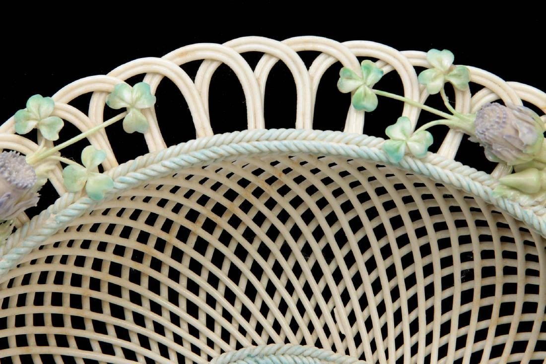 AN IRISH BELLEEK FOUR STRAND CIRCULAR BASKET - 4