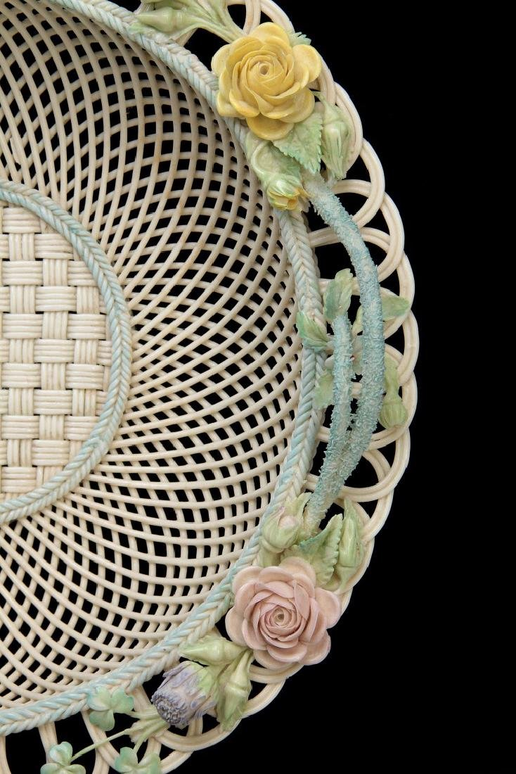 AN IRISH BELLEEK FOUR STRAND CIRCULAR BASKET - 5