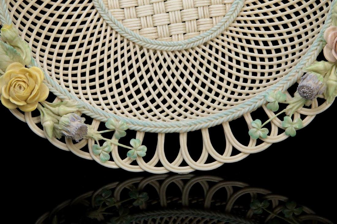 AN IRISH BELLEEK FOUR STRAND CIRCULAR BASKET - 6