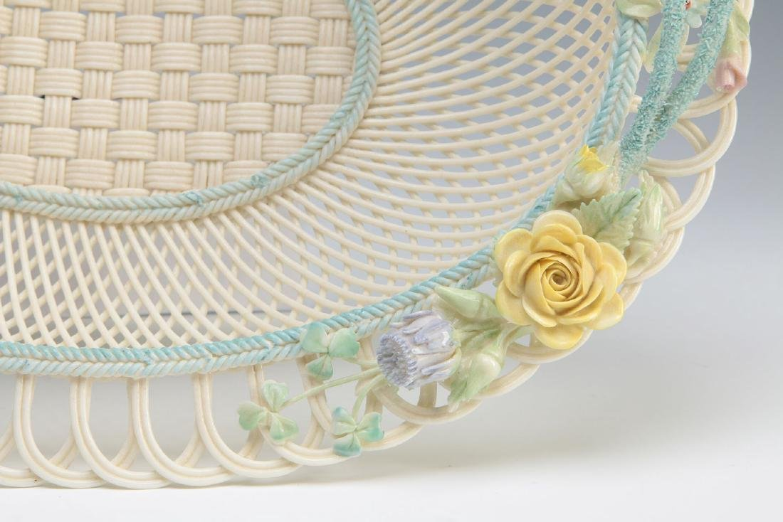 AN IRISH BELLEEK FOUR STRAND OVAL BASKET - 5