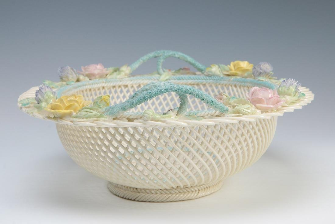 AN IRISH BELLEEK FOUR STRAND OVAL BASKET - 7