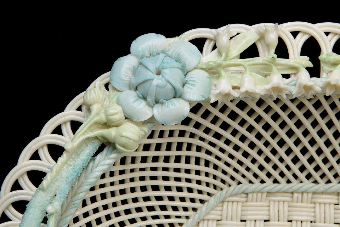 AN IRISH BELLEEK FOUR STRAND OVAL BASKET - 4