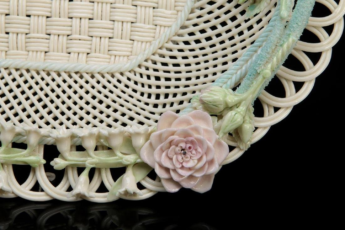 AN IRISH BELLEEK FOUR STRAND OVAL BASKET - 6