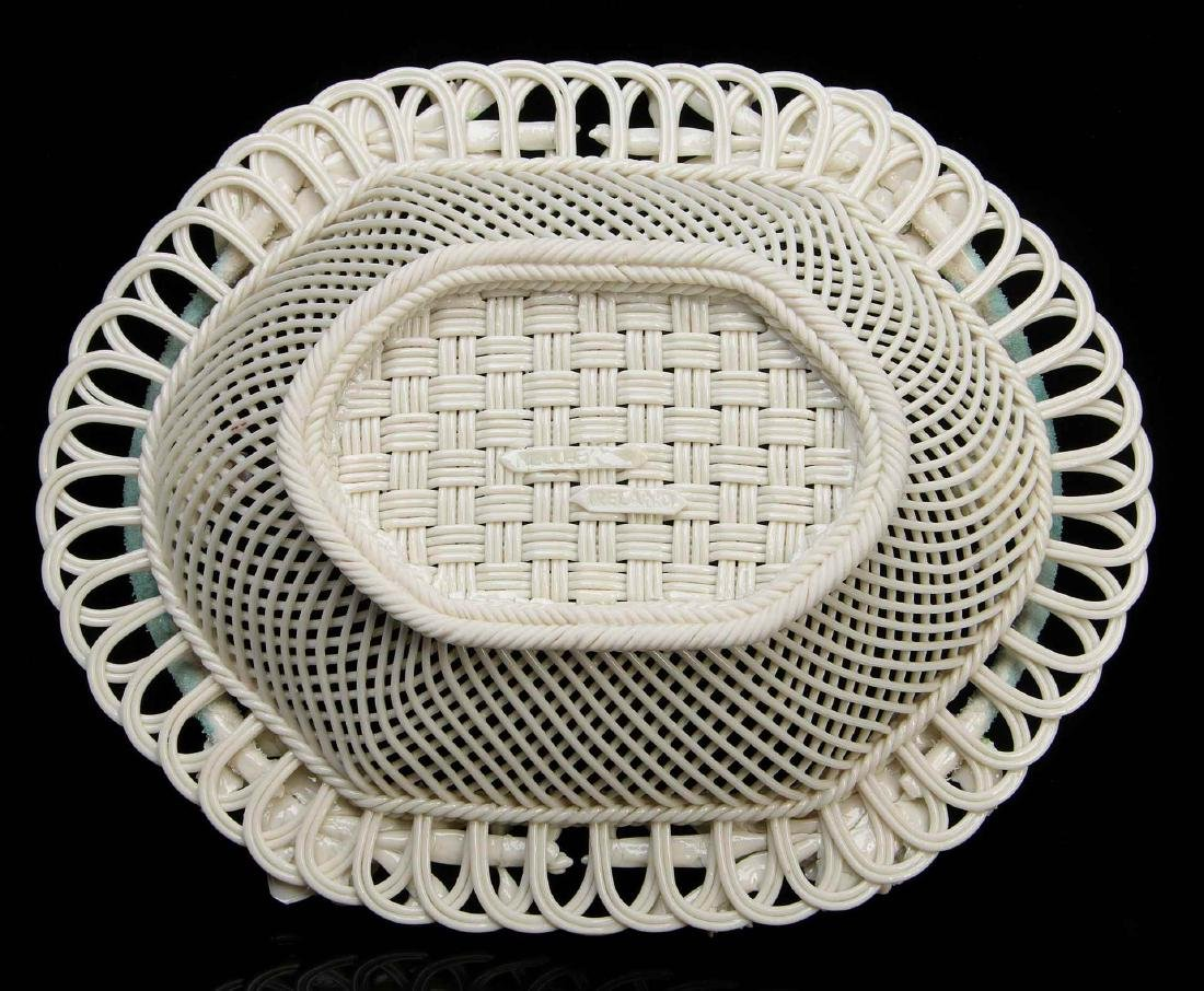 AN IRISH BELLEEK FOUR STRAND OVAL BASKET - 8