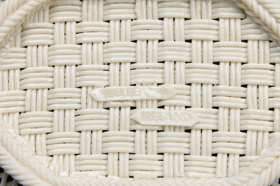 AN IRISH BELLEEK FOUR STRAND OVAL BASKET - 9
