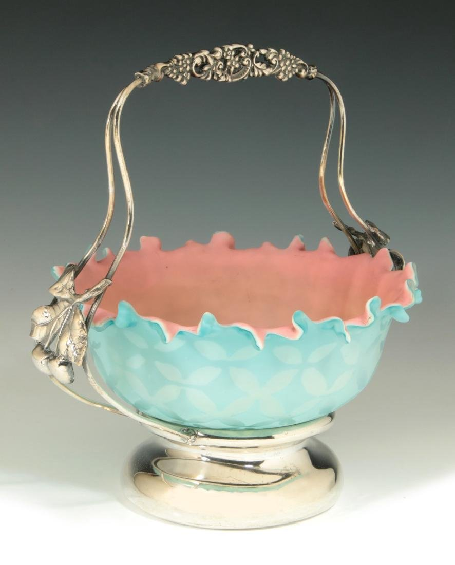 AN UNUSUAL 19TH C. MOTHER-OF-PEARL GLASS BRIDE'S BASKET