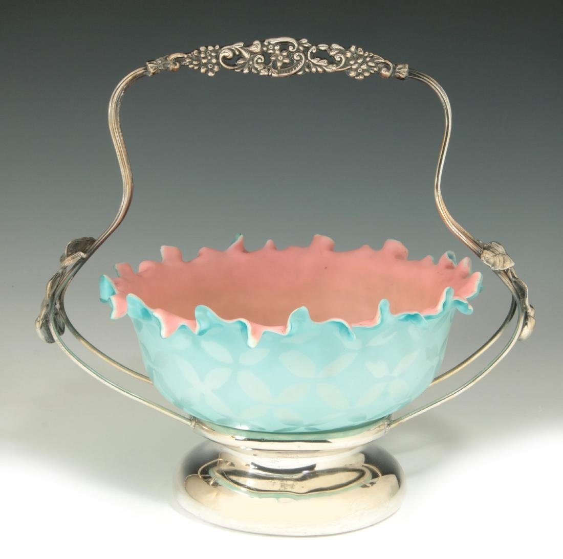 AN UNUSUAL 19TH C. MOTHER-OF-PEARL GLASS BRIDE'S BASKET - 2