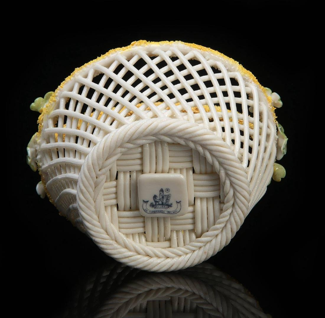 THREE IRISH BELLEEK LATTICE WORK BASKETS - 10