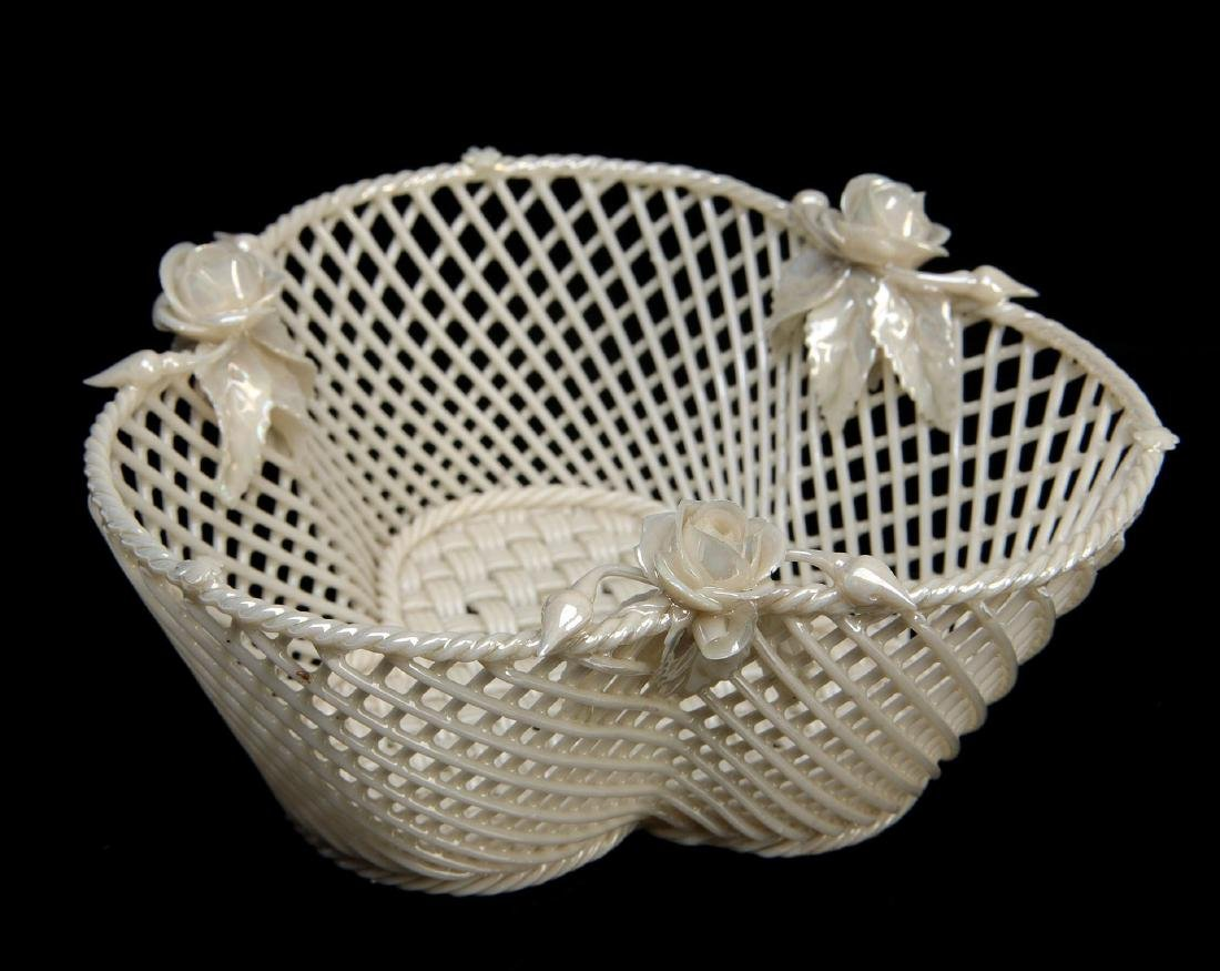THREE IRISH BELLEEK LATTICE WORK BASKETS - 5
