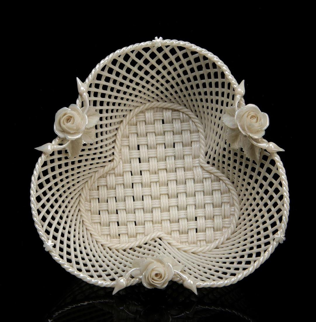 THREE IRISH BELLEEK LATTICE WORK BASKETS - 6