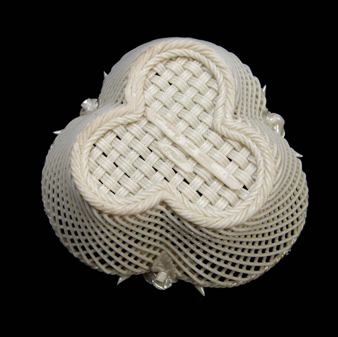 THREE IRISH BELLEEK LATTICE WORK BASKETS - 7