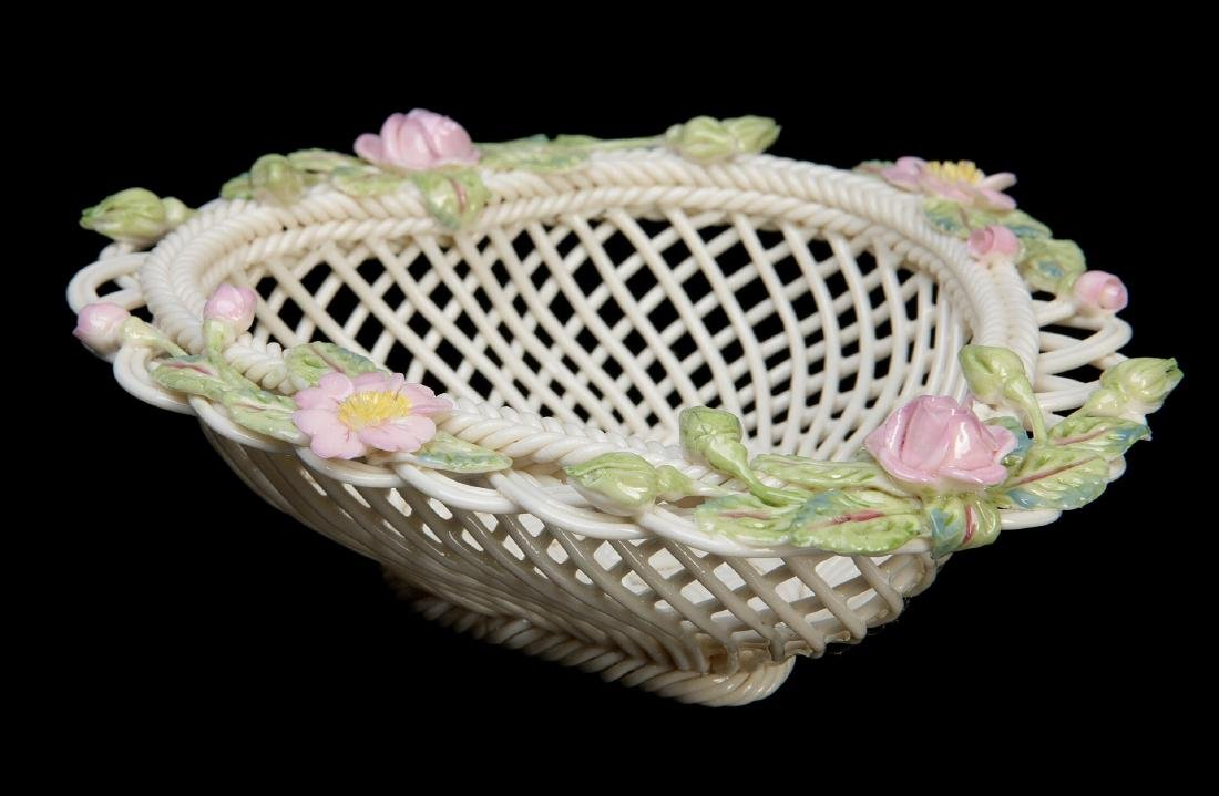 TWO IRISH BELLEEK PORCELAIN STRAND BASKETS - 2