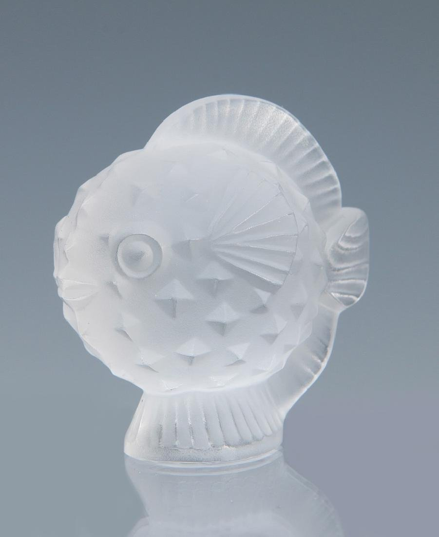 TWO LALIQUE 'PUFFER FISH' FRENCH CRYSTAL FIGURES