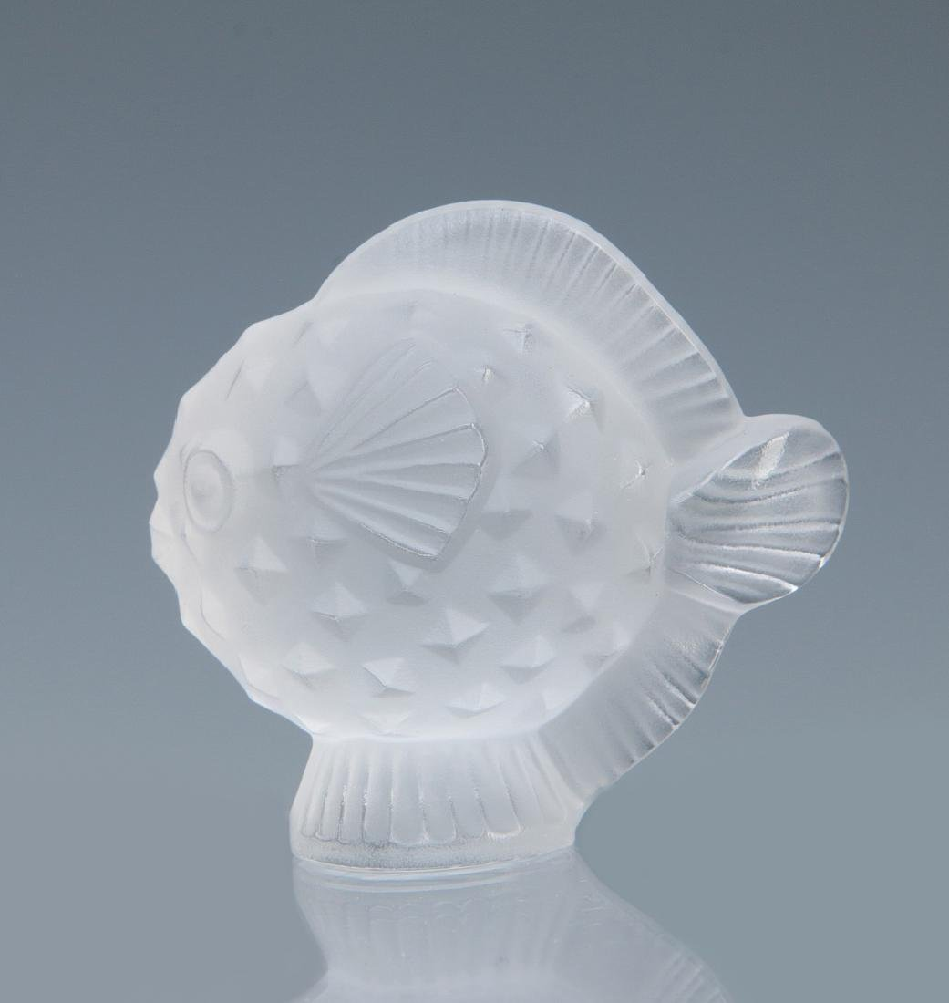 TWO LALIQUE 'PUFFER FISH' FRENCH CRYSTAL FIGURES - 2