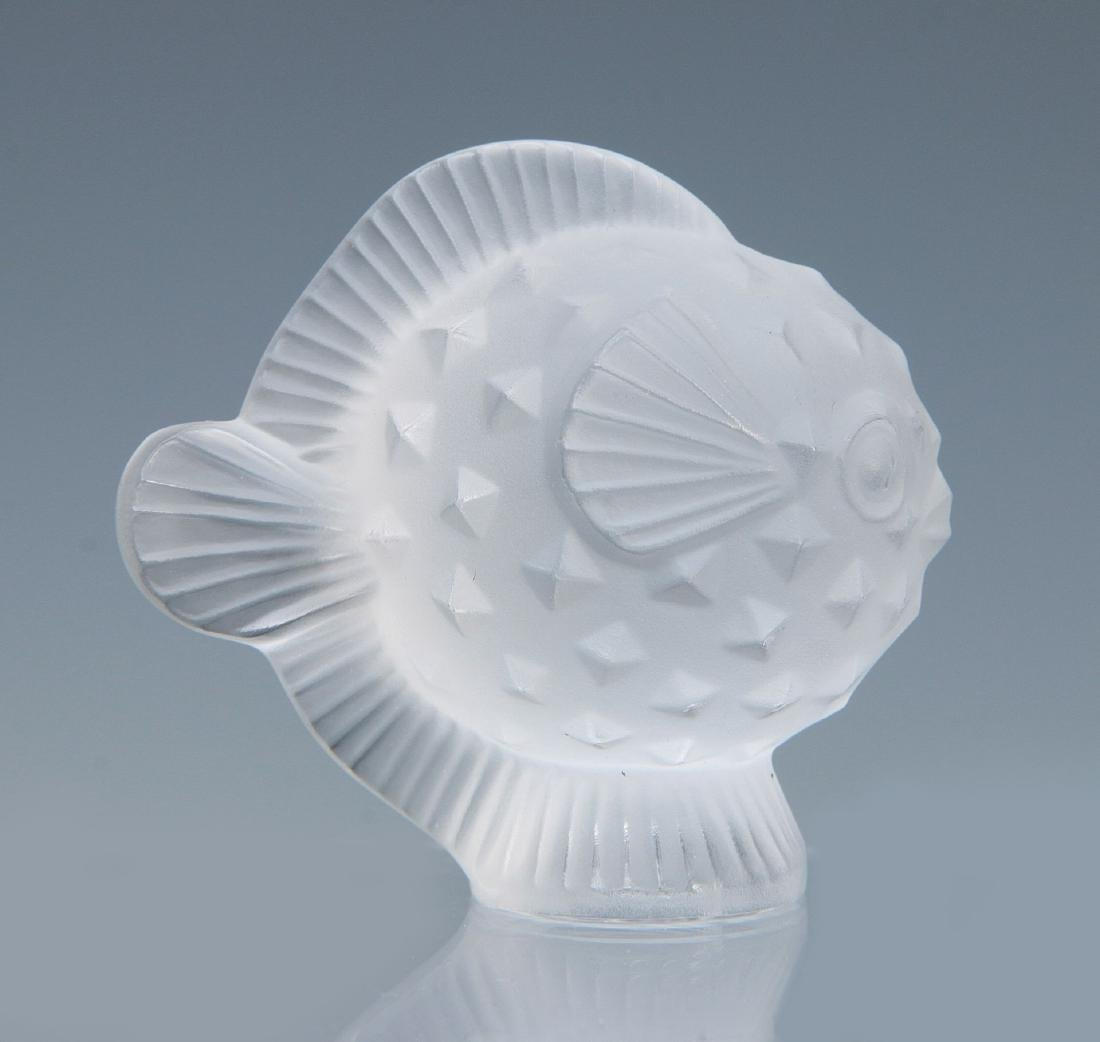 TWO LALIQUE 'PUFFER FISH' FRENCH CRYSTAL FIGURES - 3