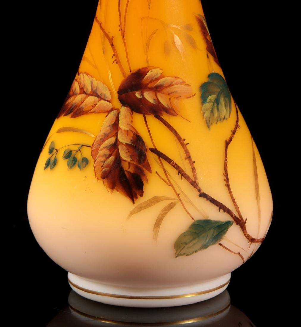 A SHADED CITRON SATIN GLASS VASE WITH ENAMEL - 4