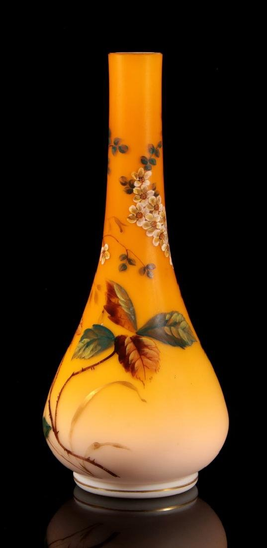 A SHADED CITRON SATIN GLASS VASE WITH ENAMEL - 5