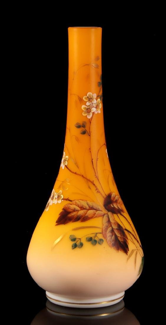 A SHADED CITRON SATIN GLASS VASE WITH ENAMEL - 7