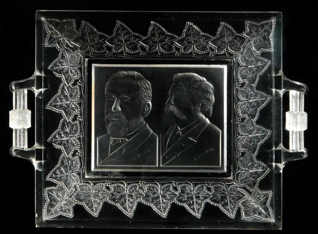 BLAINE / LOGAN 1884 CAMPAIGN HISTORICAL GLASS TRAY
