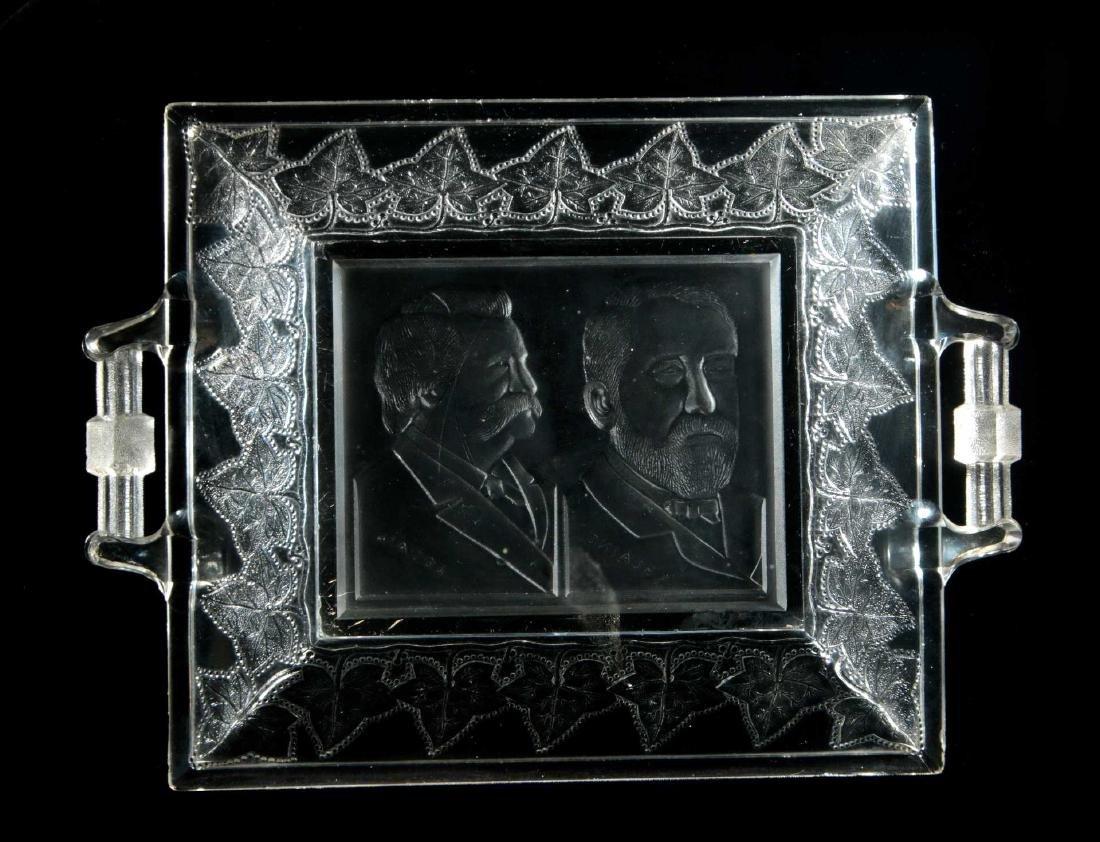BLAINE / LOGAN 1884 CAMPAIGN HISTORICAL GLASS TRAY - 7