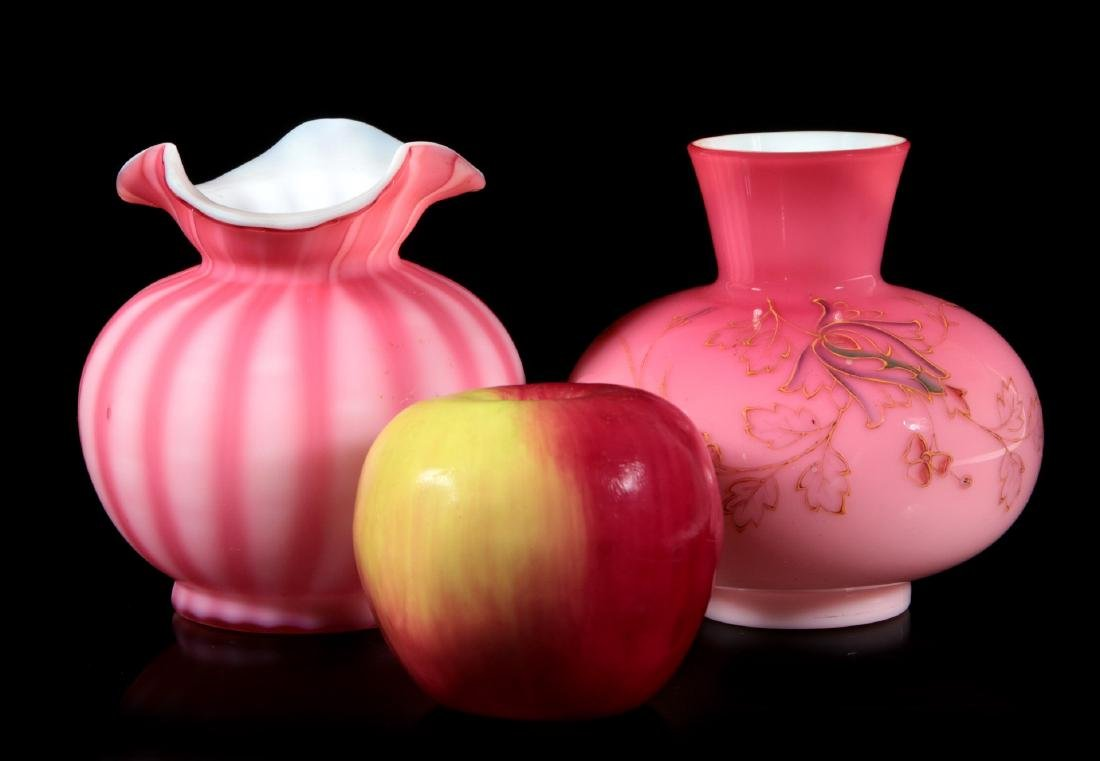 PEACH BLOW AND CUT VELVET PINK GLASS CABINET VASES - 2