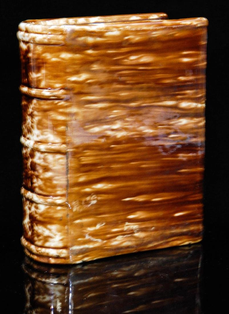 A 19TH CENTURY BENNINGTON POTTERY BOOK FLASK