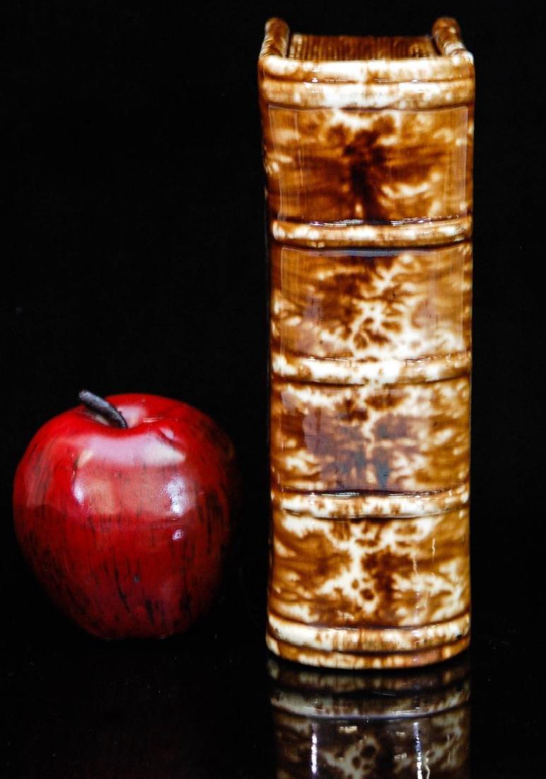 A 19TH CENTURY BENNINGTON POTTERY BOOK FLASK - 2