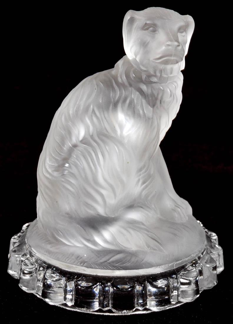 A 19TH C. FROSTED GLASS DOG PAPERWEIGHT