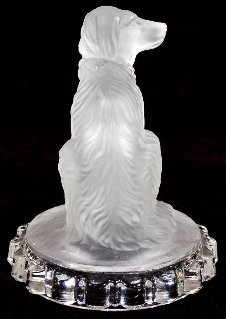 A 19TH C. FROSTED GLASS DOG PAPERWEIGHT - 6