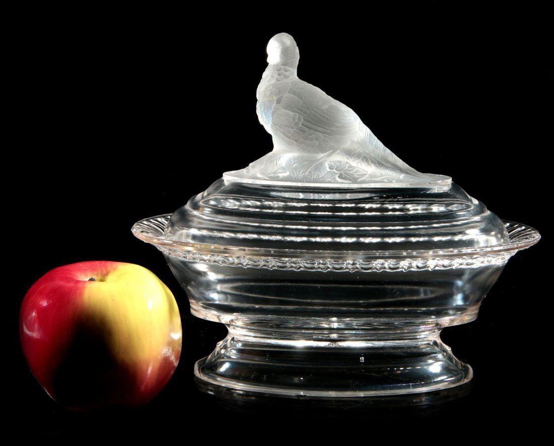 TWO 19TH C. FROSTED GLASS COVERED ANIMAL DISHES - 10