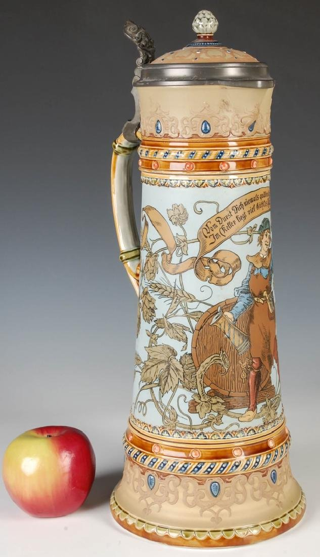 A 17-INCH METTLACH ETCHED AND JEWELED STEIN #1940 - 2