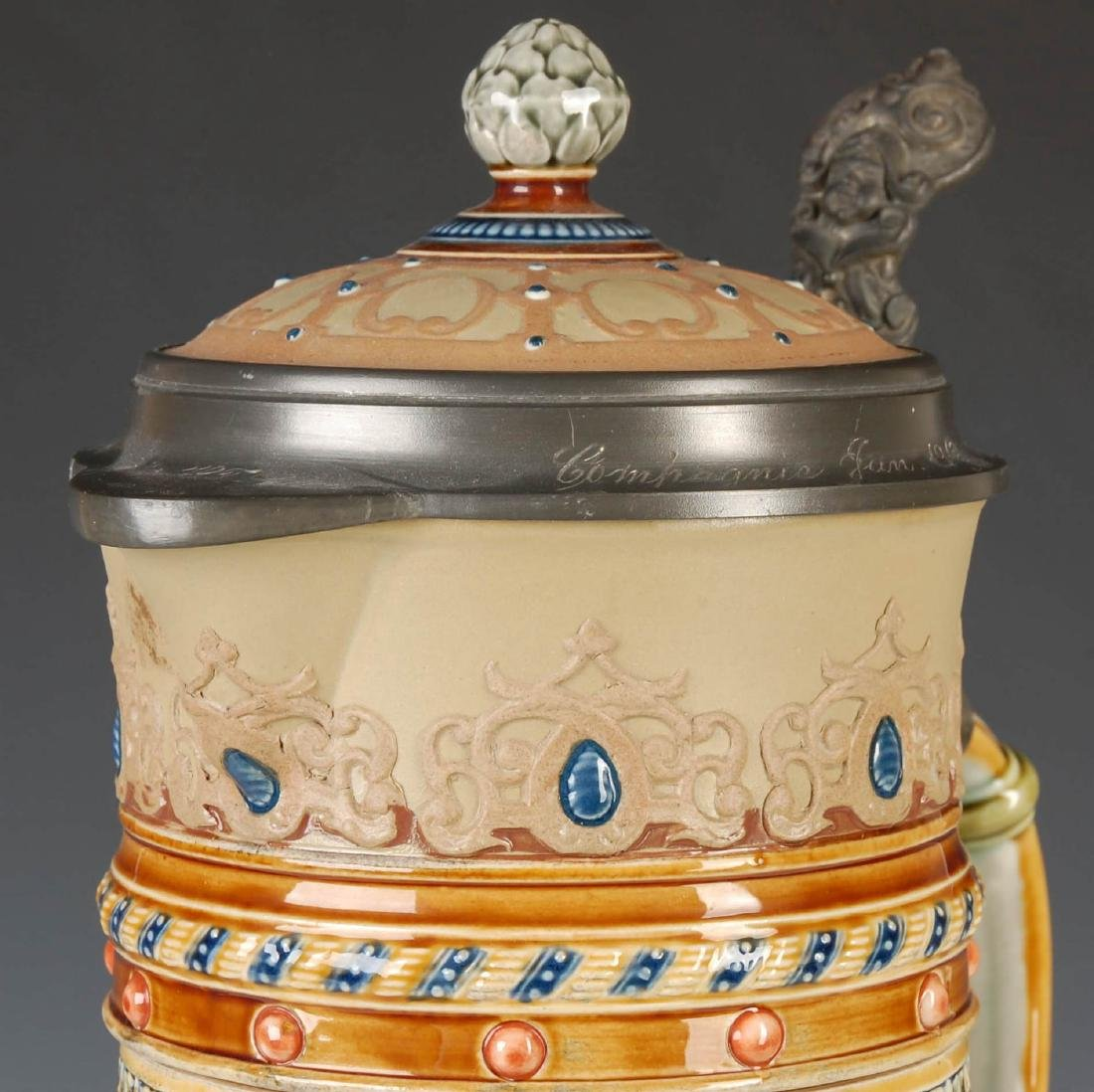 A 17-INCH METTLACH ETCHED AND JEWELED STEIN #1940 - 5