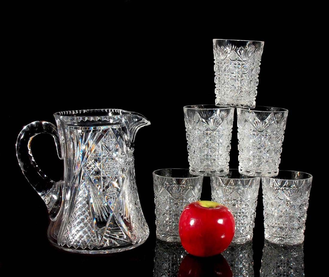 AN ABP CUT GLASS WATER SET PITCHER AND SIX TUMBLERS - 2