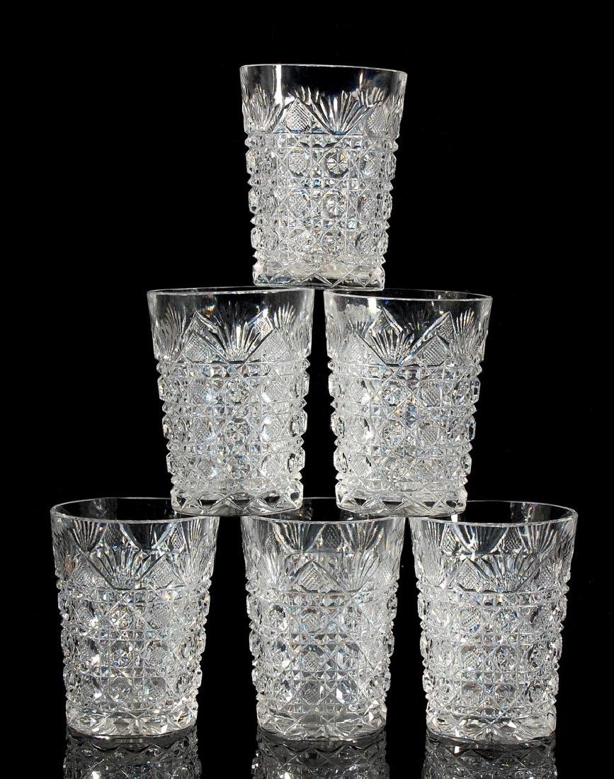 AN ABP CUT GLASS WATER SET PITCHER AND SIX TUMBLERS - 3