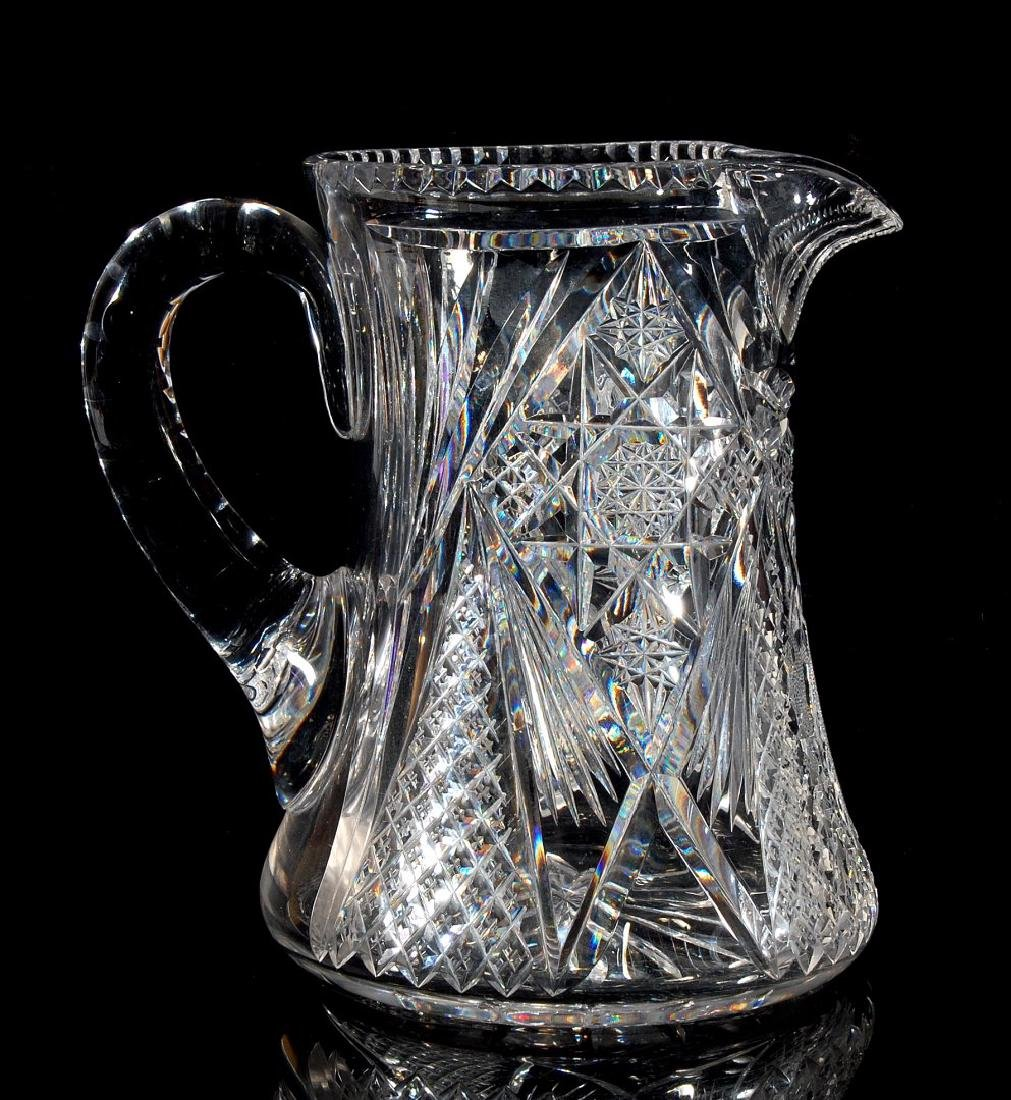 AN ABP CUT GLASS WATER SET PITCHER AND SIX TUMBLERS - 6