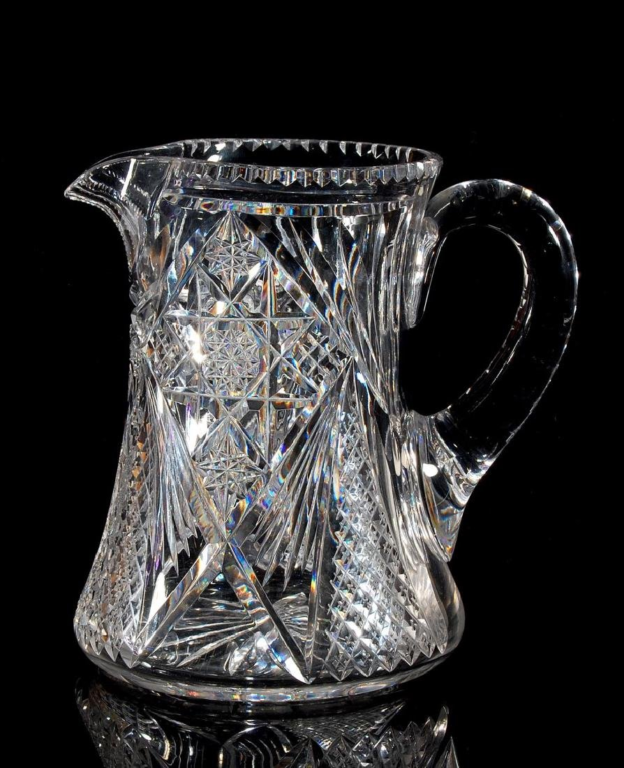 AN ABP CUT GLASS WATER SET PITCHER AND SIX TUMBLERS - 8