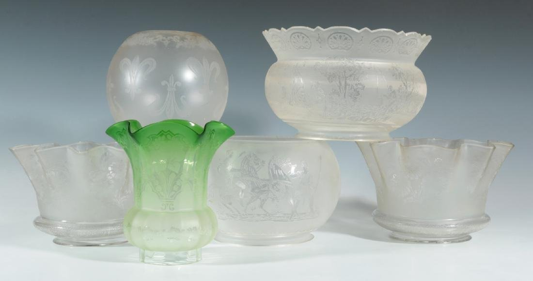 SIX 19TH CENTURY ETCHED GLASS GAS FIXTURE SHADES