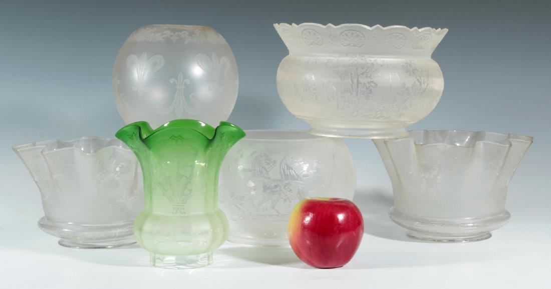 SIX 19TH CENTURY ETCHED GLASS GAS FIXTURE SHADES - 2