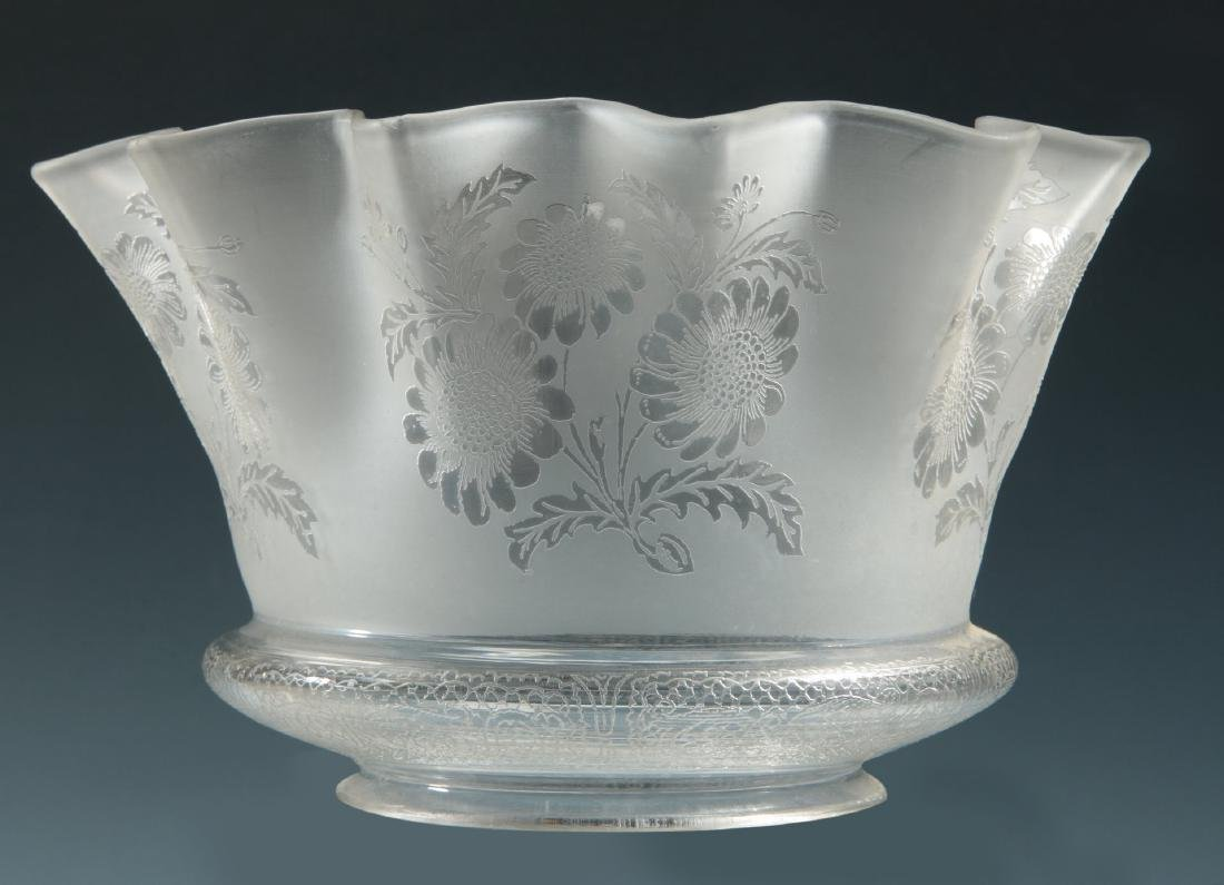 SIX 19TH CENTURY ETCHED GLASS GAS FIXTURE SHADES - 7