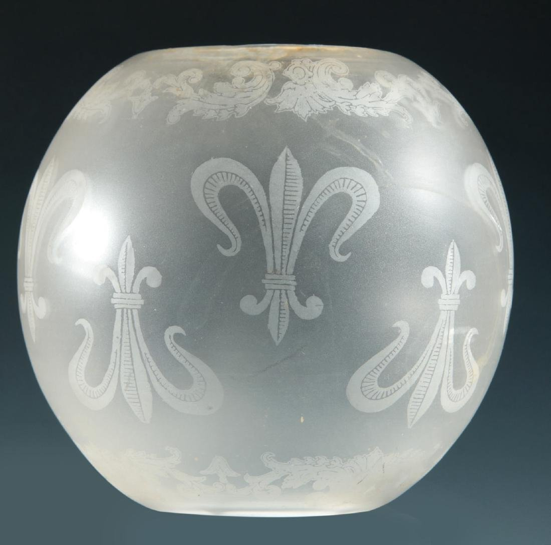 SIX 19TH CENTURY ETCHED GLASS GAS FIXTURE SHADES - 8