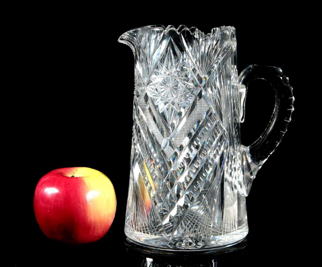AN ABP TALL CUT GLASS PITCHER SIGNED LIBBEY - 2
