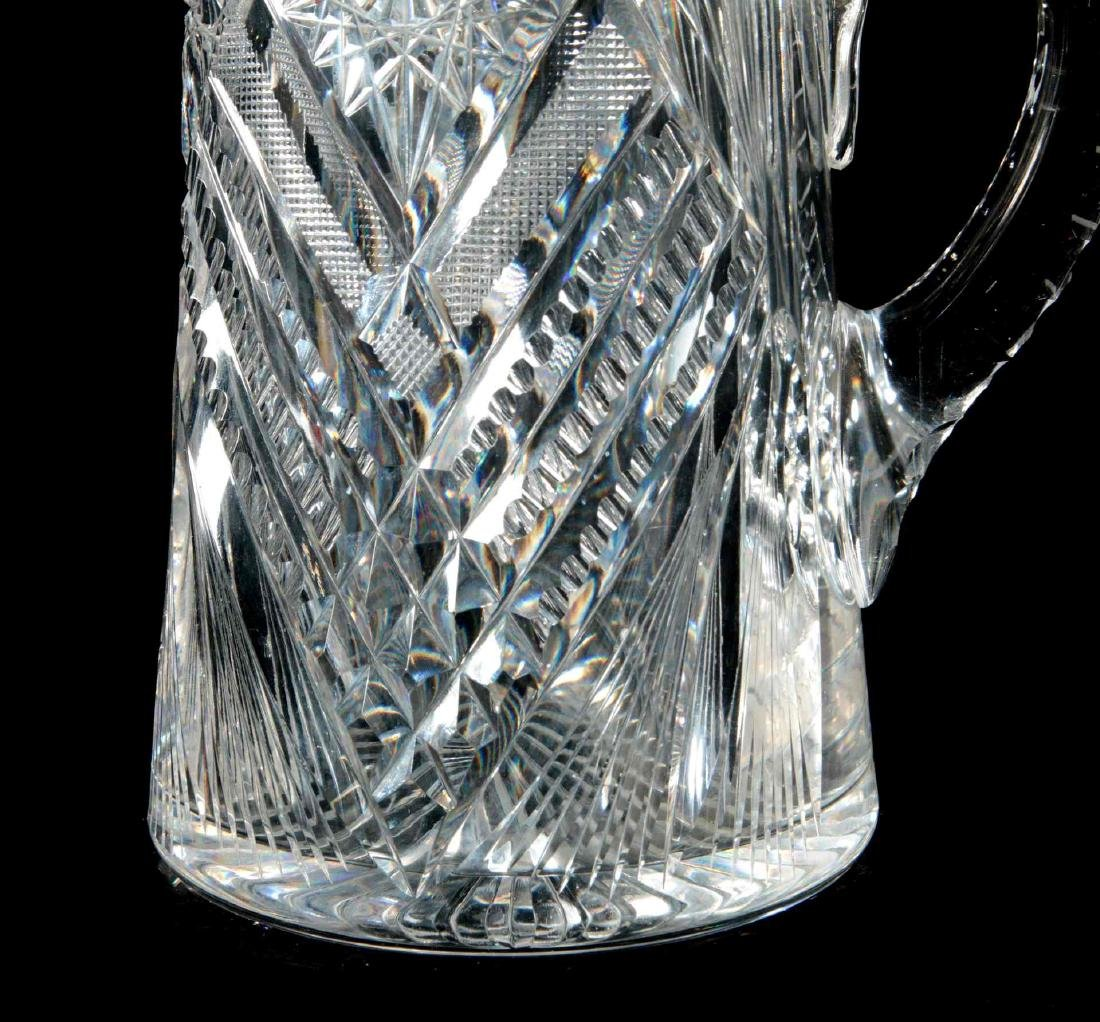 AN ABP TALL CUT GLASS PITCHER SIGNED LIBBEY - 4