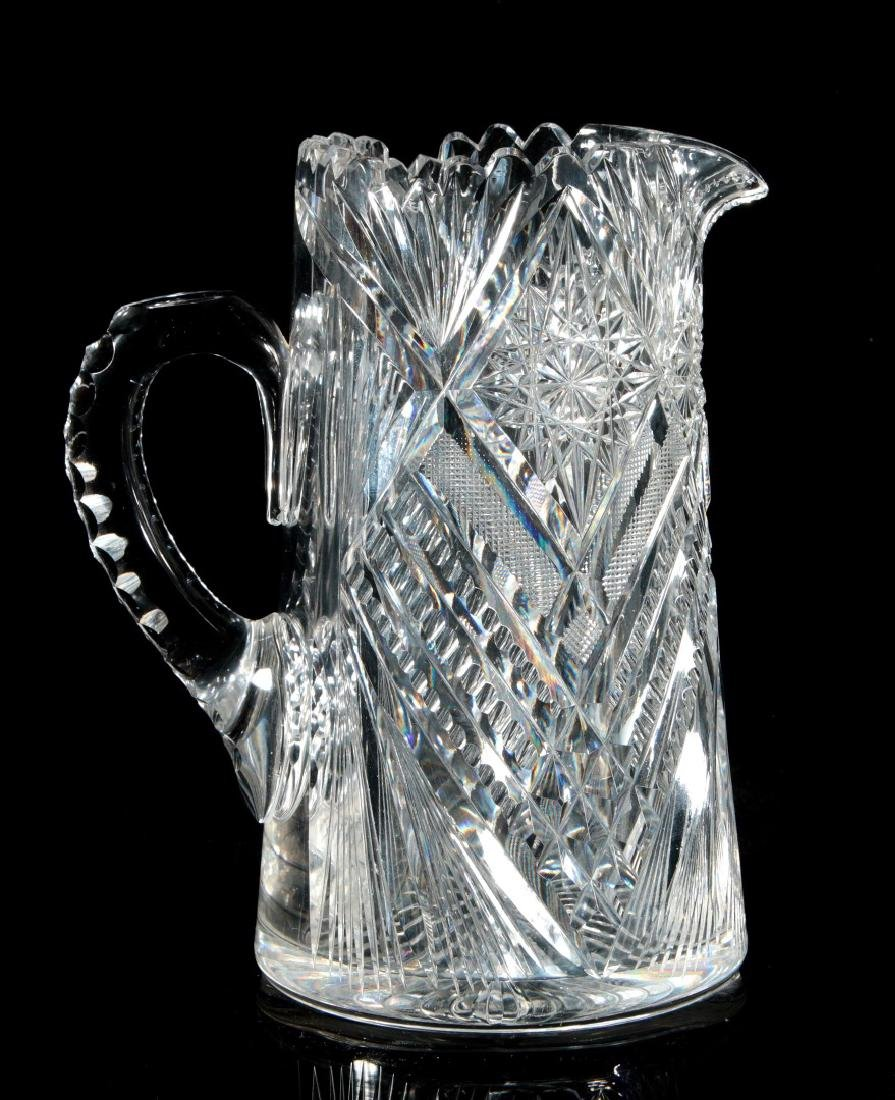 AN ABP TALL CUT GLASS PITCHER SIGNED LIBBEY - 6