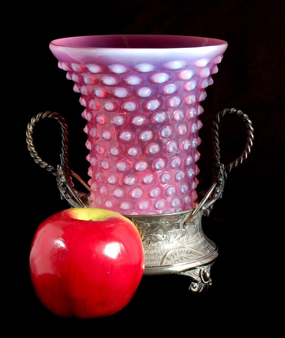 AN UNUSUAL CRANBERRY OPALESCENT HOBNAIL VASE IN STAND - 2
