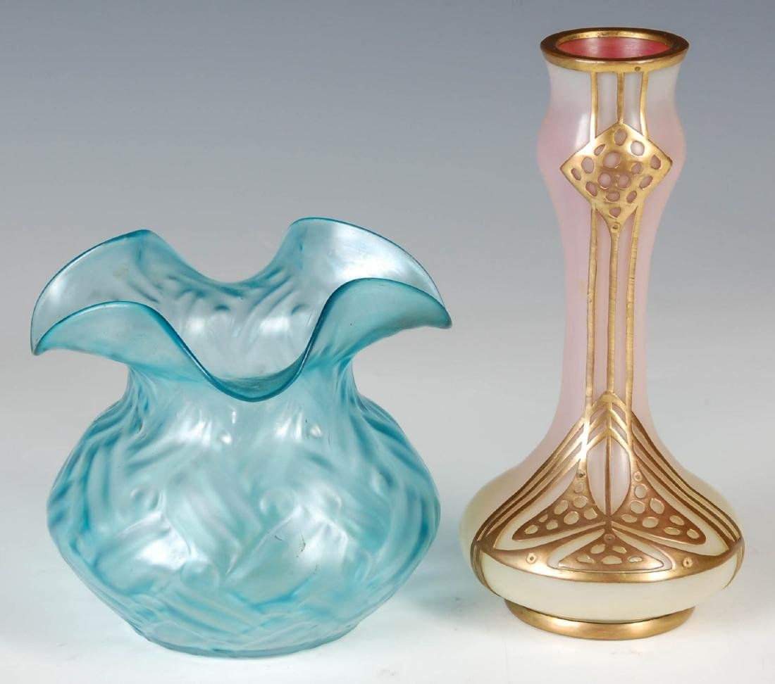 AN AUSTRIAN SECESSIONIST VASE WITH COPPER OVERLAY