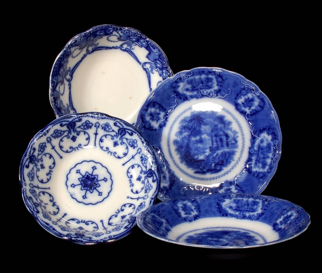 FOUR PIECES OF FLOW BLUE CHINA CIRCA 1900