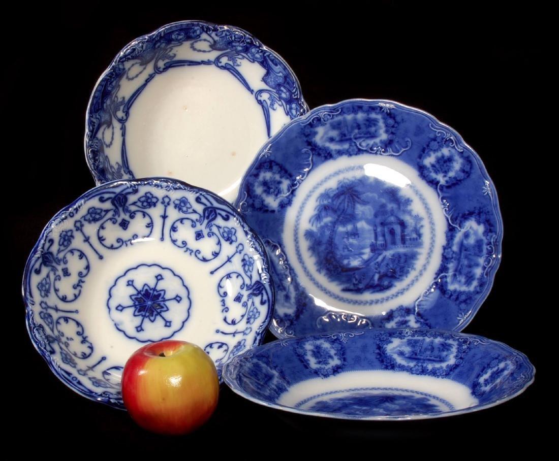 FOUR PIECES OF FLOW BLUE CHINA CIRCA 1900 - 2