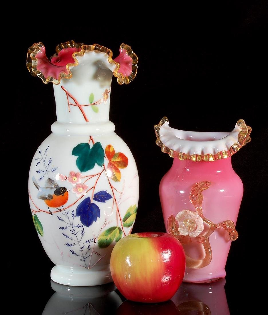 TWO 19TH CENTURY VICTORIAN ART GLASS VASES - 2